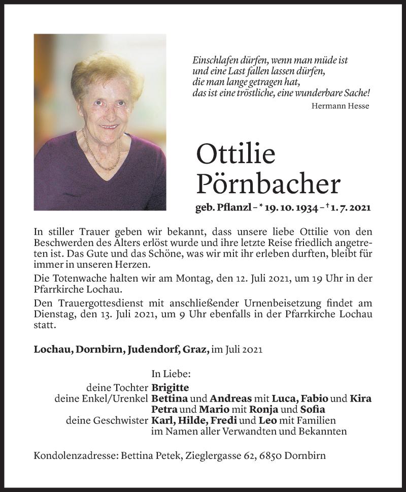 Todesanzeige für Ottilie Pörnbacher vom 08.07.2021 aus Vorarlberger Nachrichten