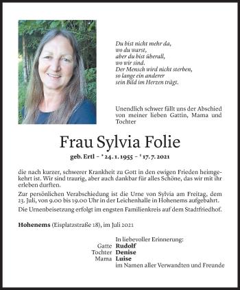 Todesanzeige von Sylvia Folie von Vorarlberger Nachrichten