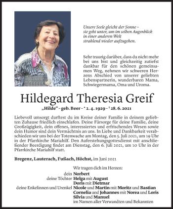 Todesanzeige von Hildegard Theresia Greif von Vorarlberger Nachrichten