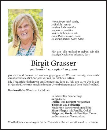 Todesanzeige von Birgit Grasser von Vorarlberger Nachrichten