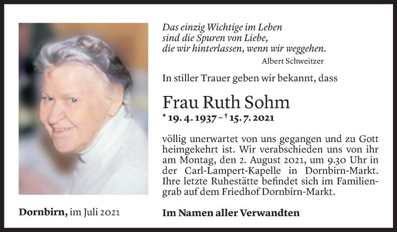 Todesanzeige für Ruth Sohm vom 30.07.2021 aus Vorarlberger Nachrichten