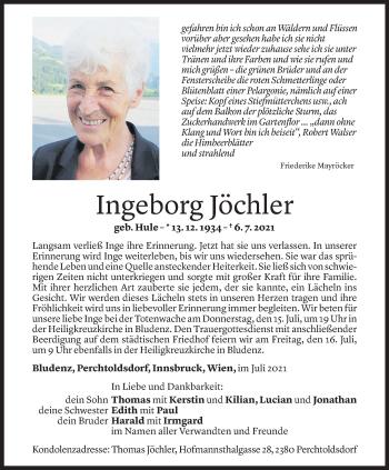 Todesanzeige von Ingeborg Jöchler von Vorarlberger Nachrichten