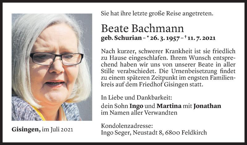 Todesanzeige für Beate Bachmann vom 17.07.2021 aus Vorarlberger Nachrichten