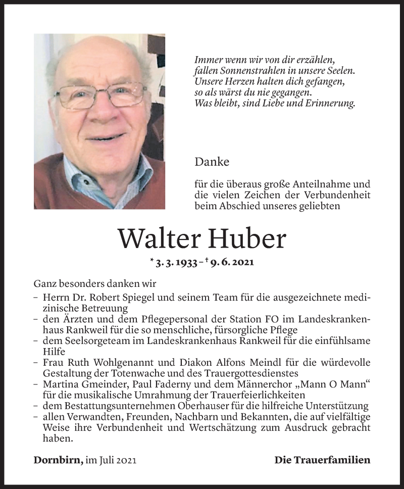 Todesanzeige für Walter Huber vom 08.07.2021 aus Vorarlberger Nachrichten