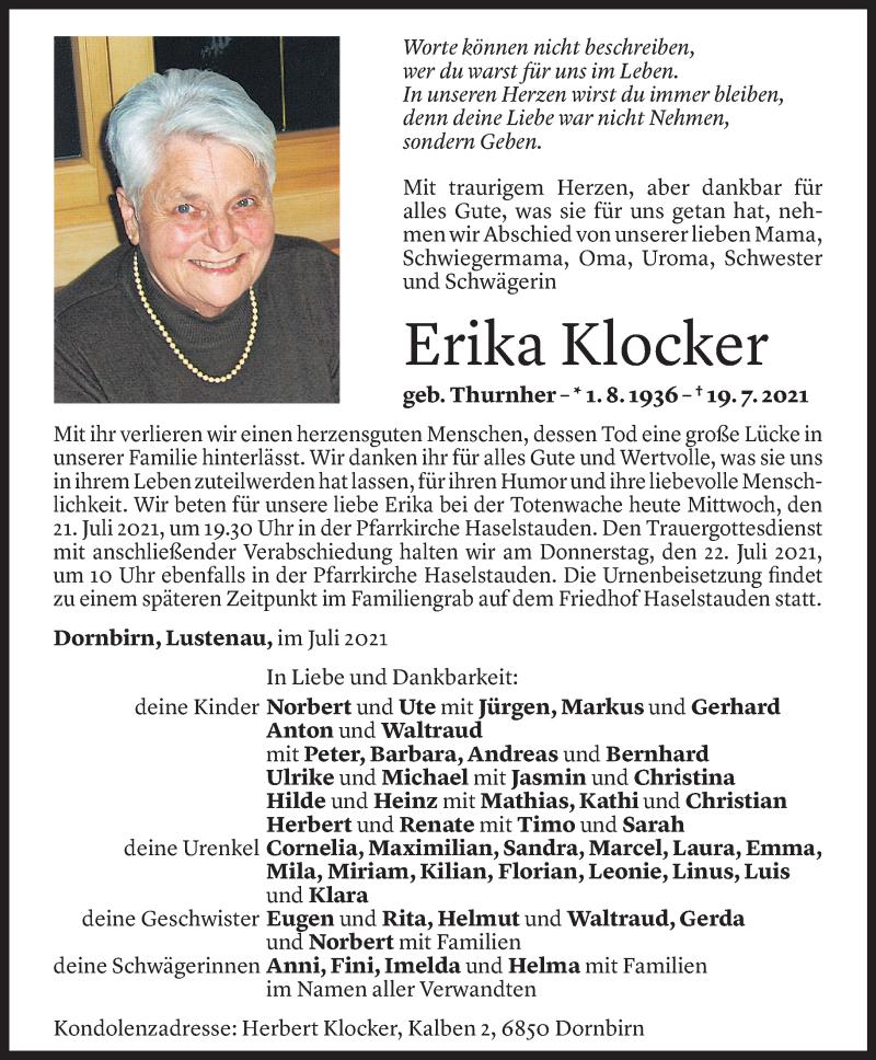 Todesanzeige für Erika Klocker vom 20.07.2021 aus Vorarlberger Nachrichten