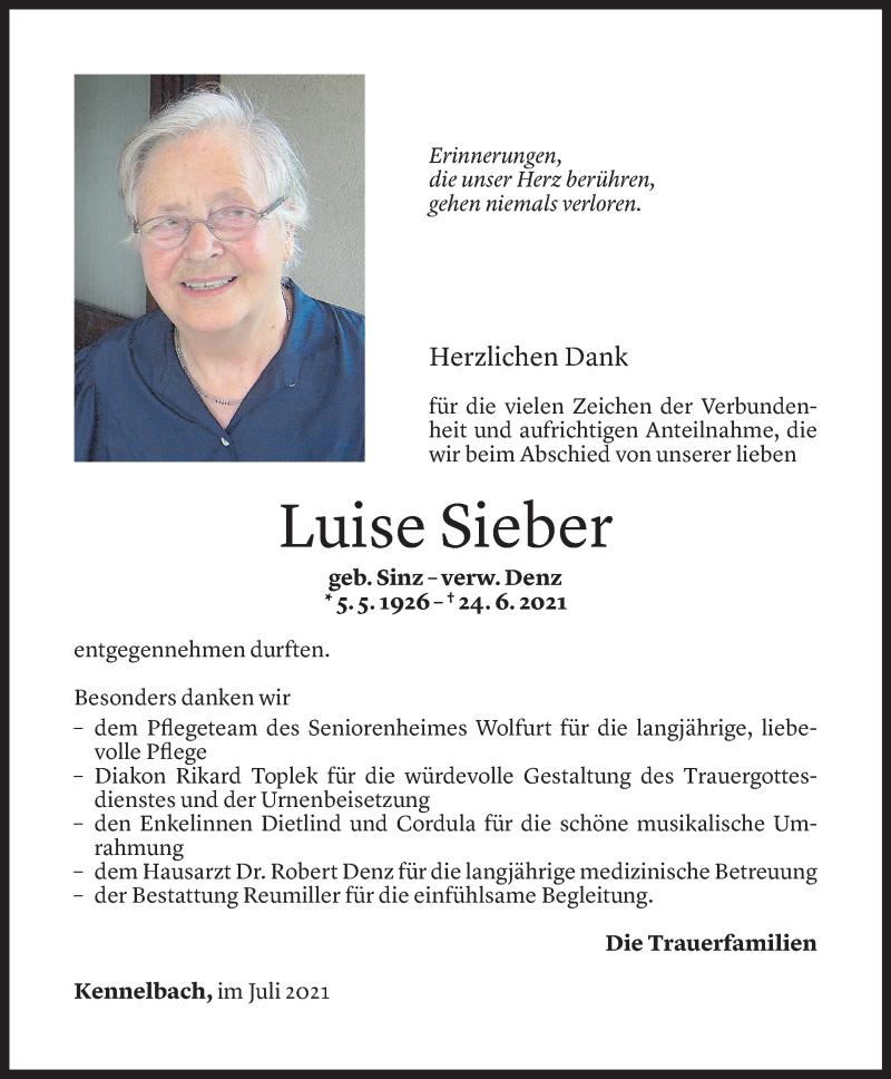 Todesanzeige für Luise Sieber vom 20.07.2021 aus Vorarlberger Nachrichten