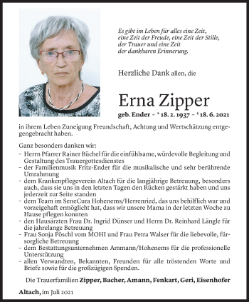 Todesanzeige von Erna Zipper von Vorarlberger Nachrichten