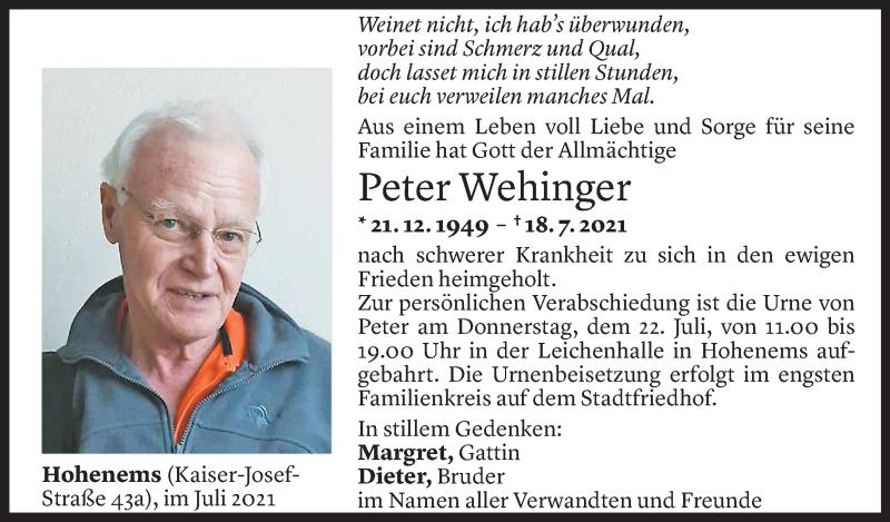 Todesanzeige für Peter Wehinger vom 20.07.2021 aus Vorarlberger Nachrichten