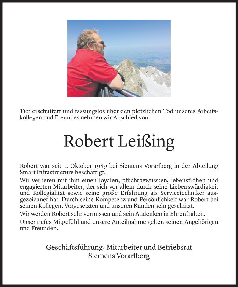 Todesanzeige für Robert Leißing vom 20.07.2021 aus Vorarlberger Nachrichten