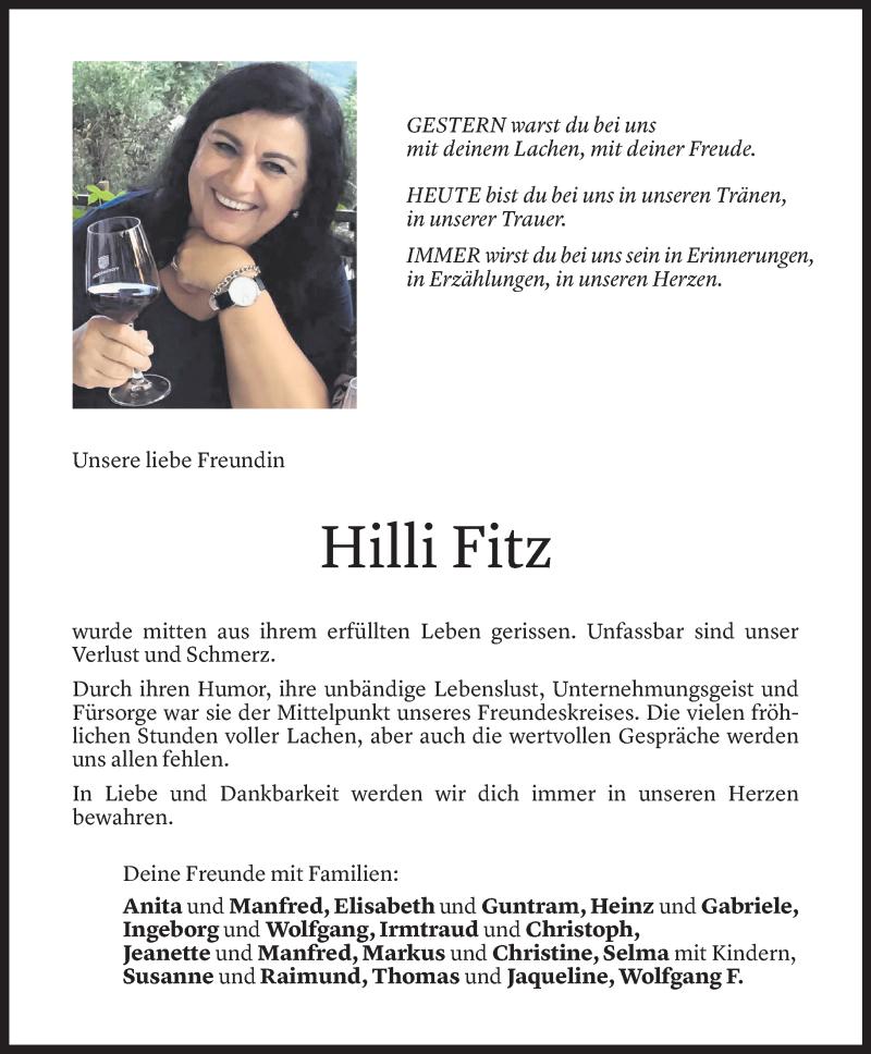 Todesanzeige für Hildegard Fitz vom 21.07.2021 aus Vorarlberger Nachrichten