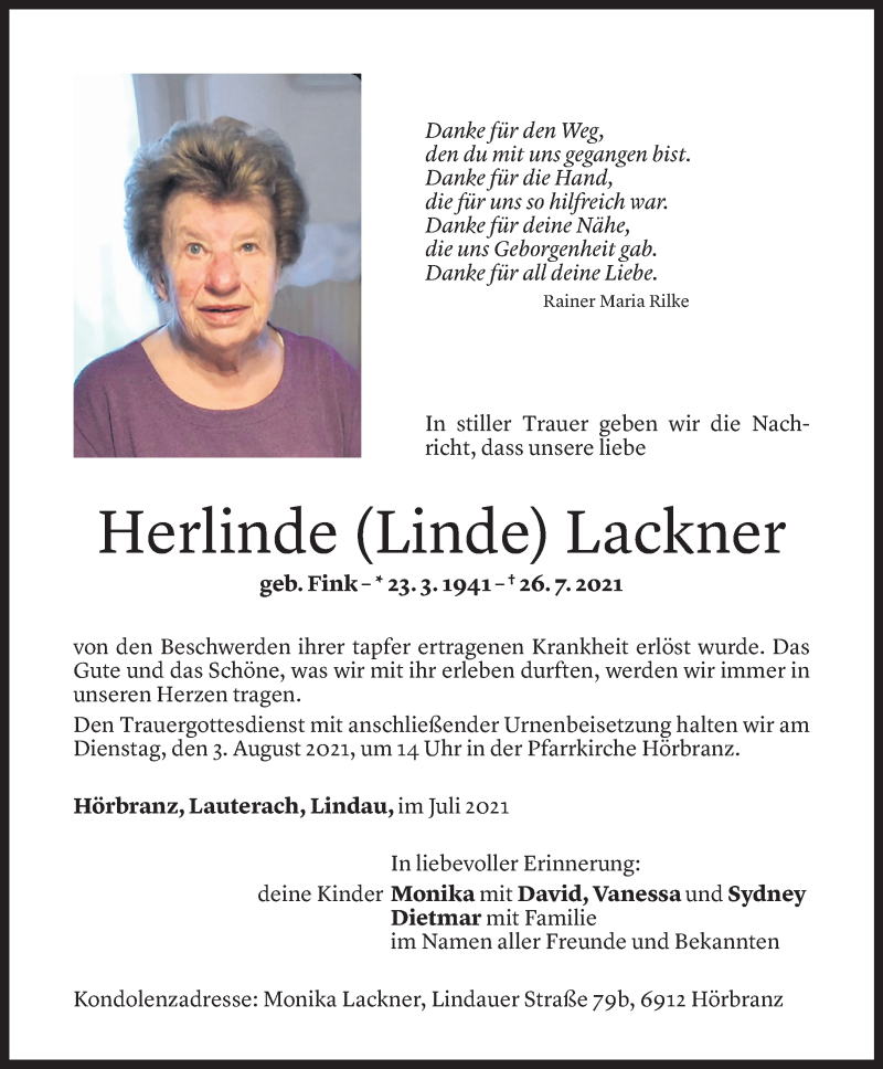 Todesanzeige für Herlinde Lackner vom 30.07.2021 aus Vorarlberger Nachrichten