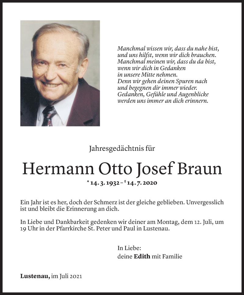 Todesanzeige für Hermann Braun vom 09.07.2021 aus Vorarlberger Nachrichten