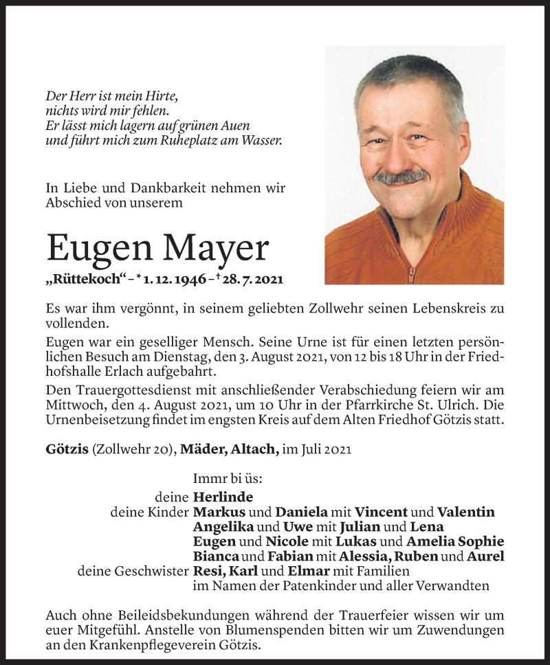 Todesanzeige für Eugen Mayer vom 30.07.2021 aus Vorarlberger Nachrichten