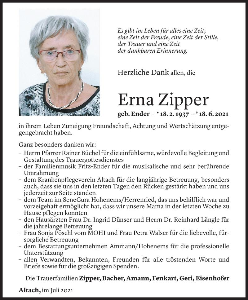 Todesanzeige für Erna Zipper vom 30.07.2021 aus Vorarlberger Nachrichten