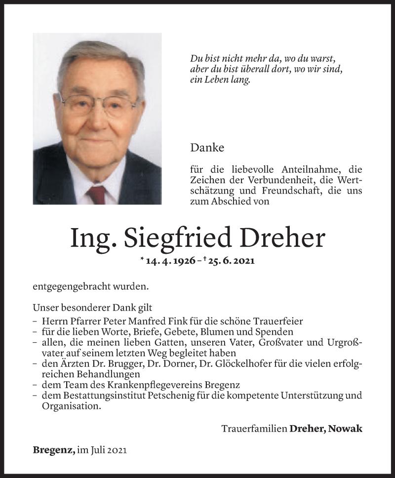 Todesanzeige für Siegfried Dreher vom 29.07.2021 aus Vorarlberger Nachrichten