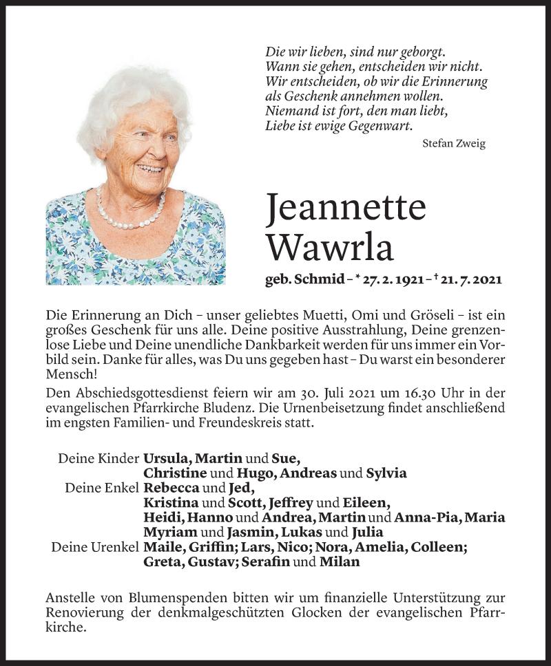 Todesanzeige für Jeannette Wawrla vom 28.07.2021 aus Vorarlberger Nachrichten