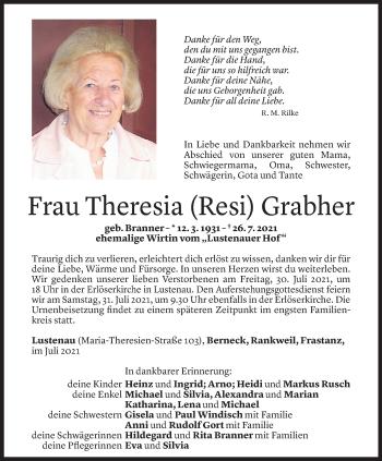 Todesanzeige von Theresia Grabher von Vorarlberger Nachrichten