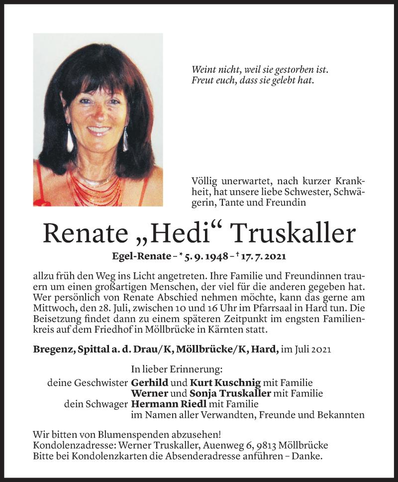 Todesanzeige für Renate Truskaller vom 23.07.2021 aus Vorarlberger Nachrichten