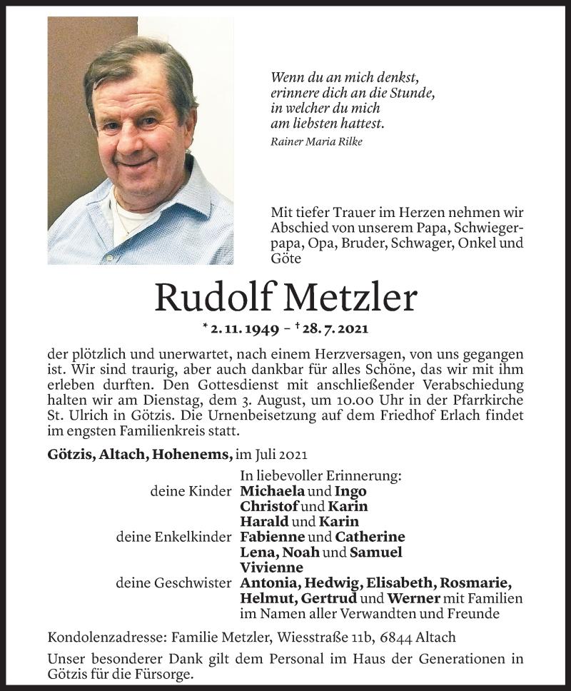 Todesanzeige für Rudolf Metzler vom 31.07.2021 aus Vorarlberger Nachrichten