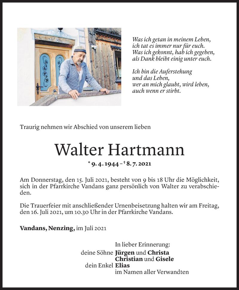 Todesanzeige für Walter Hartmann vom 12.07.2021 aus Vorarlberger Nachrichten
