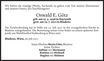 Todesanzeige von Oswald E. Götz von Vorarlberger Nachrichten