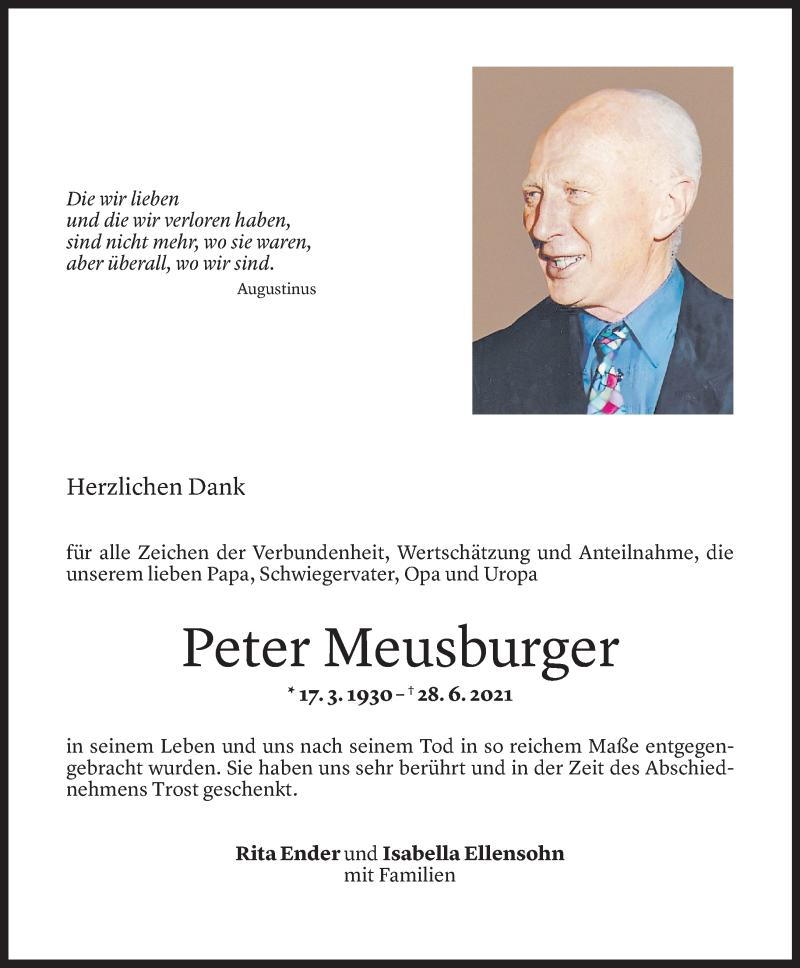 Todesanzeige für Peter Meusburger vom 20.06.2021 aus Vorarlberger Nachrichten