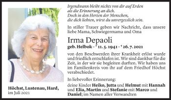 Todesanzeige von Irma Depaoli von Vorarlberger Nachrichten