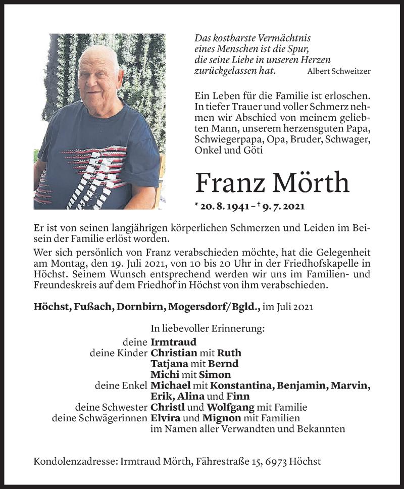 Todesanzeige für Franz Mörth vom 16.07.2021 aus Vorarlberger Nachrichten