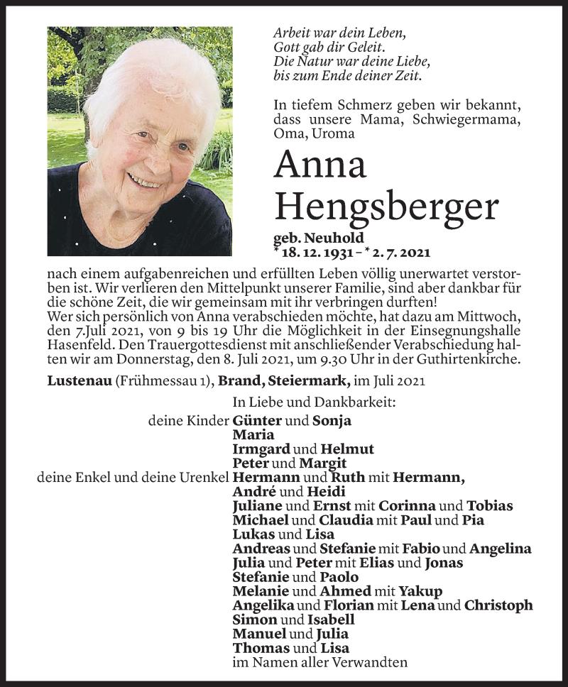 Todesanzeige für Anna Hengsberger vom 04.07.2021 aus Vorarlberger Nachrichten