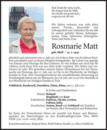 Todesanzeige von Rosmarie Matt von Vorarlberger Nachrichten