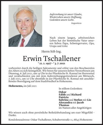 Todesanzeige von Erwin Tschallener von Vorarlberger Nachrichten