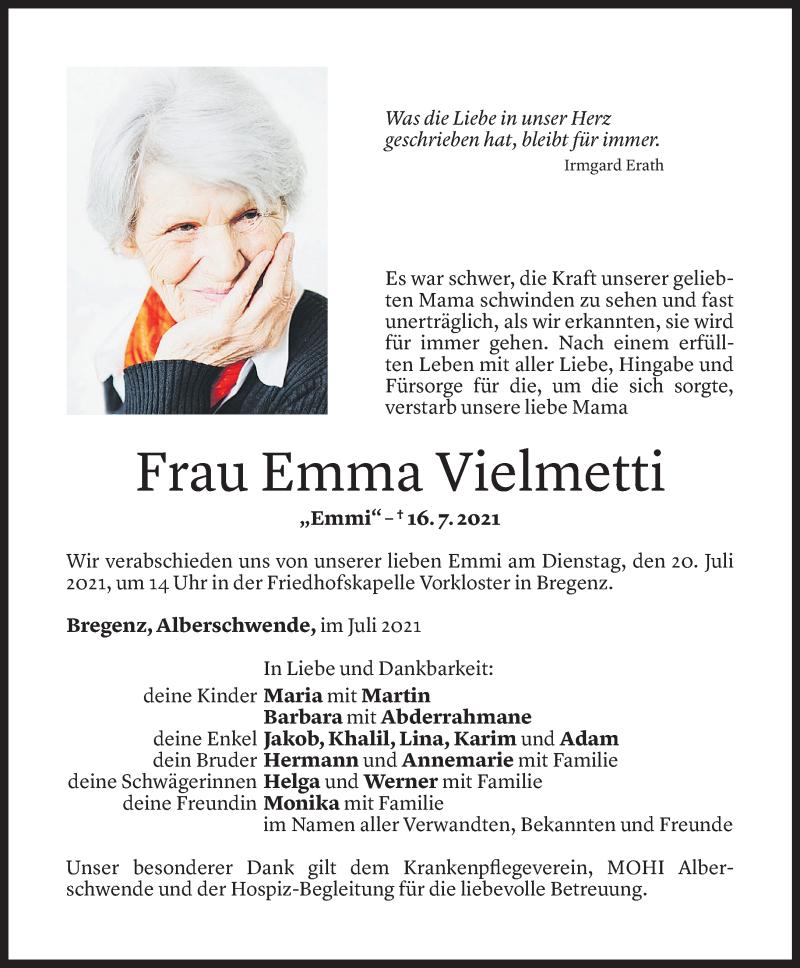 Todesanzeige für Emma Vielmetti vom 17.07.2021 aus Vorarlberger Nachrichten