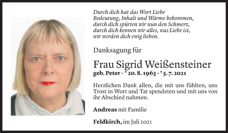 Todesanzeige für Sigrid Weißensteiner vom 18.07.2021 aus Vorarlberger Nachrichten