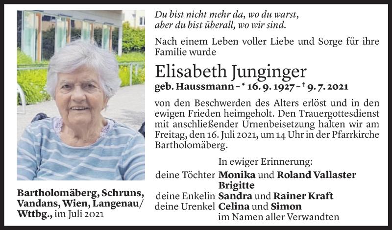 Todesanzeige für Elisabeth Junginger vom 12.07.2021 aus Vorarlberger Nachrichten