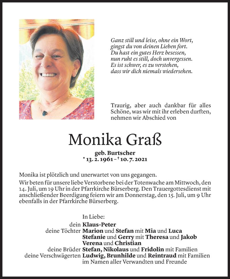 Todesanzeige für Monika Graß vom 13.07.2021 aus Vorarlberger Nachrichten