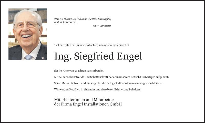Todesanzeige für Siegfried Engel vom 19.07.2021 aus Vorarlberger Nachrichten