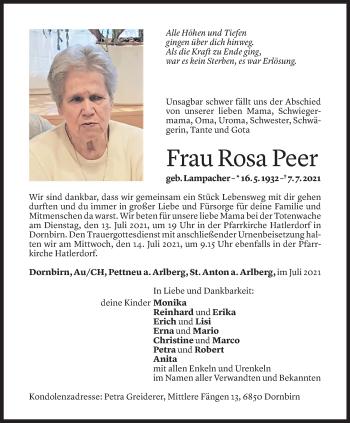 Todesanzeige von Rosa Peer von Vorarlberger Nachrichten