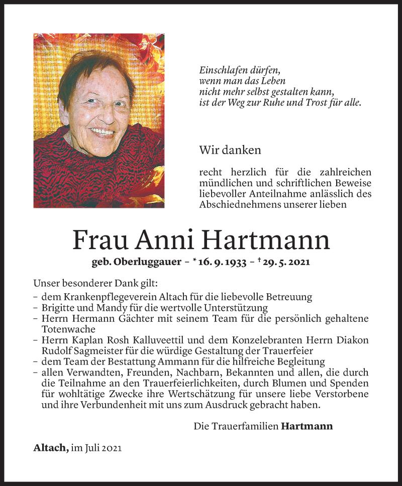 Todesanzeige für Anni Hartmann vom 07.07.2021 aus Vorarlberger Nachrichten