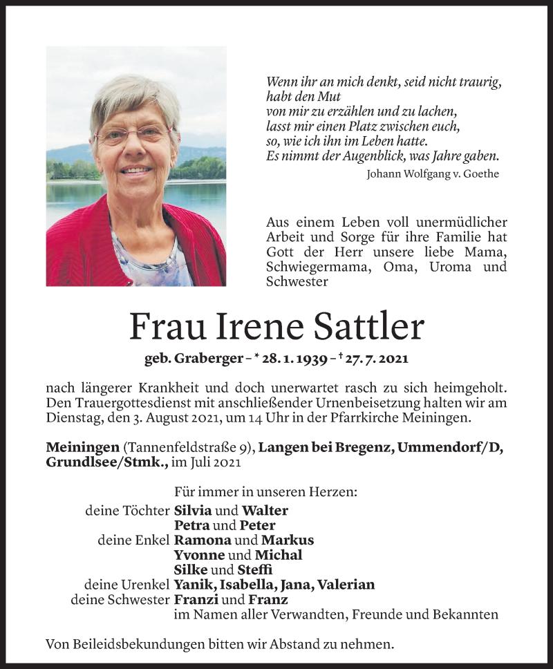 Todesanzeige für Irene Sattler vom 30.07.2021 aus Vorarlberger Nachrichten