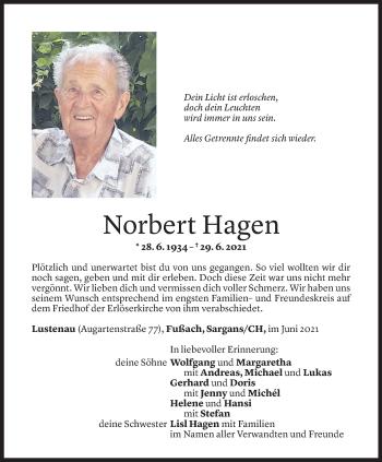 Todesanzeige von Norbert Hagen von Vorarlberger Nachrichten