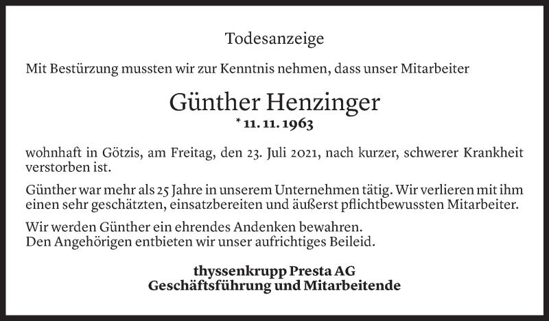Todesanzeige für Günther Henzinger vom 26.07.2021 aus Vorarlberger Nachrichten