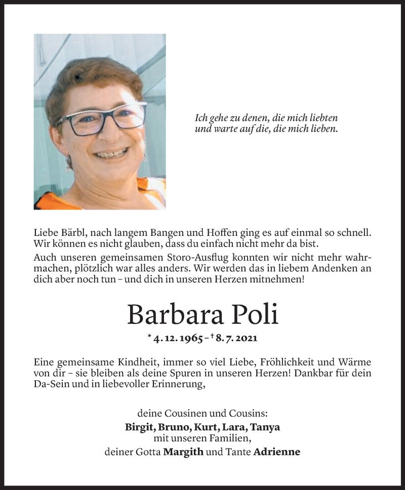 Todesanzeige für Barbara Poli vom 17.07.2021 aus Vorarlberger Nachrichten