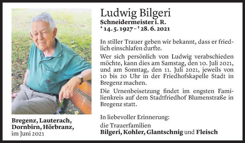 Todesanzeige für Ludwig Bilgeri vom 07.07.2021 aus Vorarlberger Nachrichten