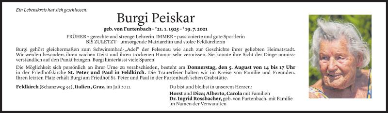 Todesanzeige für Burgi Peiskar vom 01.08.2021 aus Vorarlberger Nachrichten