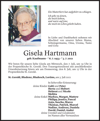 Todesanzeige von Gisela Hartmann von Vorarlberger Nachrichten