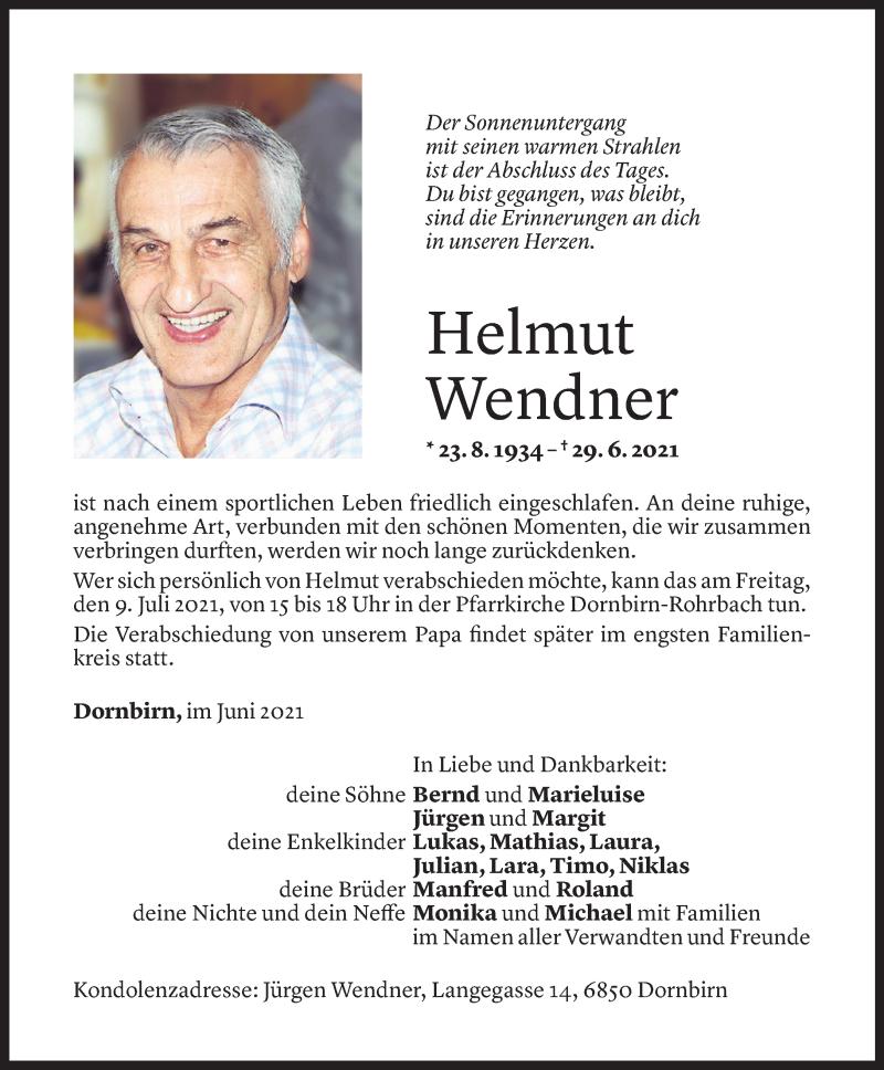 Todesanzeige für Helmut Wendner vom 07.07.2021 aus Vorarlberger Nachrichten