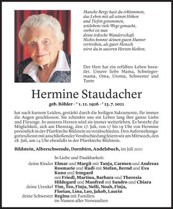 Todesanzeige von Hermine Staudacher von Vorarlberger Nachrichten