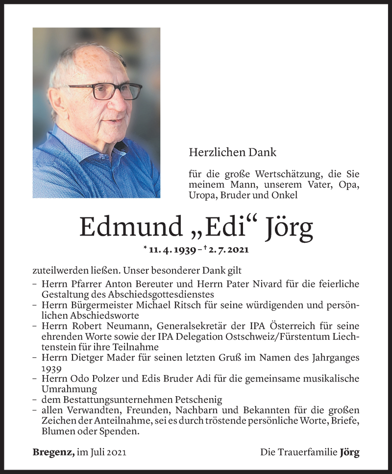 Todesanzeige für Edmund Jörg vom 22.07.2021 aus Vorarlberger Nachrichten