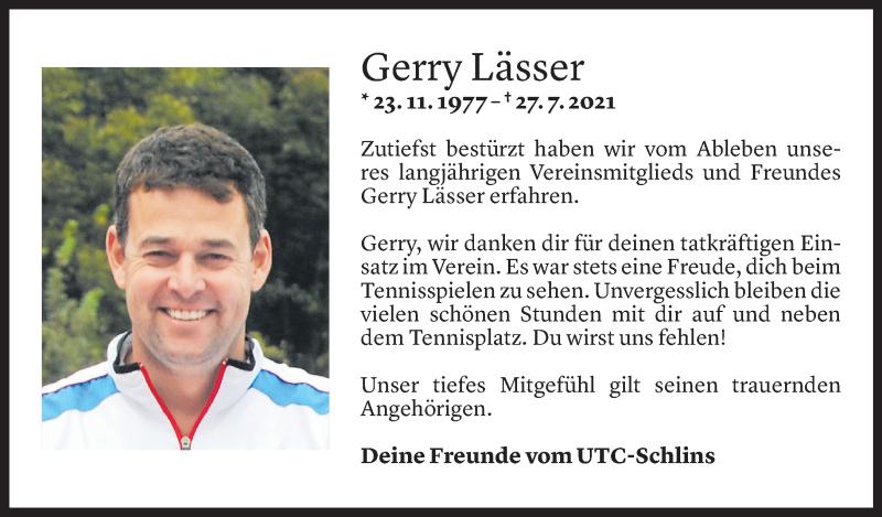 Todesanzeige für Gerhard Lässer vom 29.07.2021 aus Vorarlberger Nachrichten