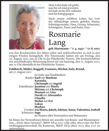 Todesanzeige von Rosmarie Lang von Vorarlberger Nachrichten
